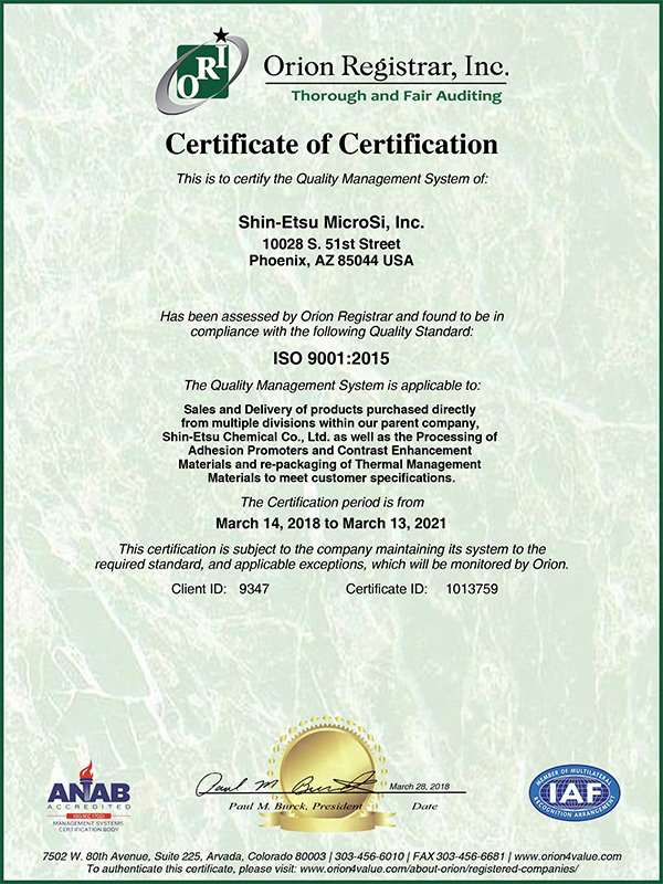 Shin-Etsu MicroSi, Inc. ISO9001:2015 Certification